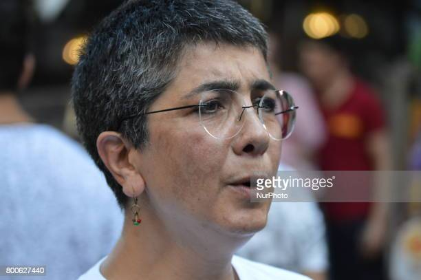 Sacked educator Acun Karadag is seen during a march in support of sacked academic Nuriye Gulmen and primary school teacher Semih Ozakca in Ankara...