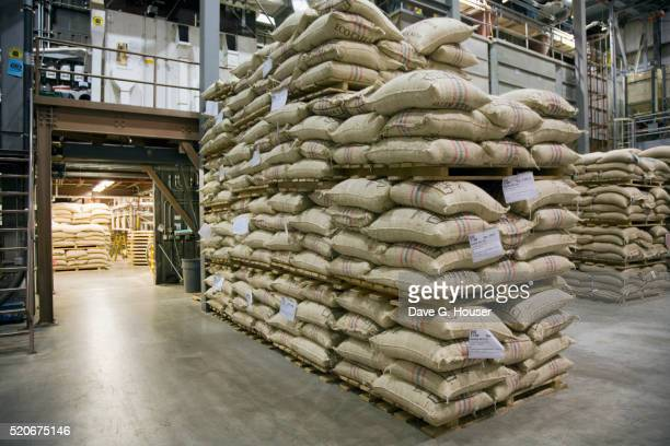 Sacks of Beans at Green Mountain Coffee Roasters