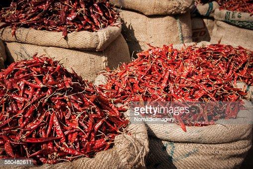 Sacks of dried chilies