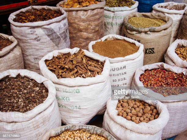 Sacks of spices for sale in market