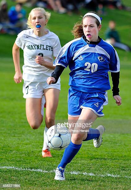 Sacopee Valley Abby Hughs leads Waynflete Beata Vest as Wayflete hosts Sacopee Valley in girls high school soccer Class C West semifinals