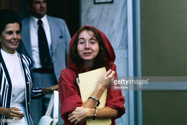 Sacramento CA Lynette 'Squeaky' Fromme shown leaving courthouse after her first hearing on the charge of attempting assassination of President Gerald...