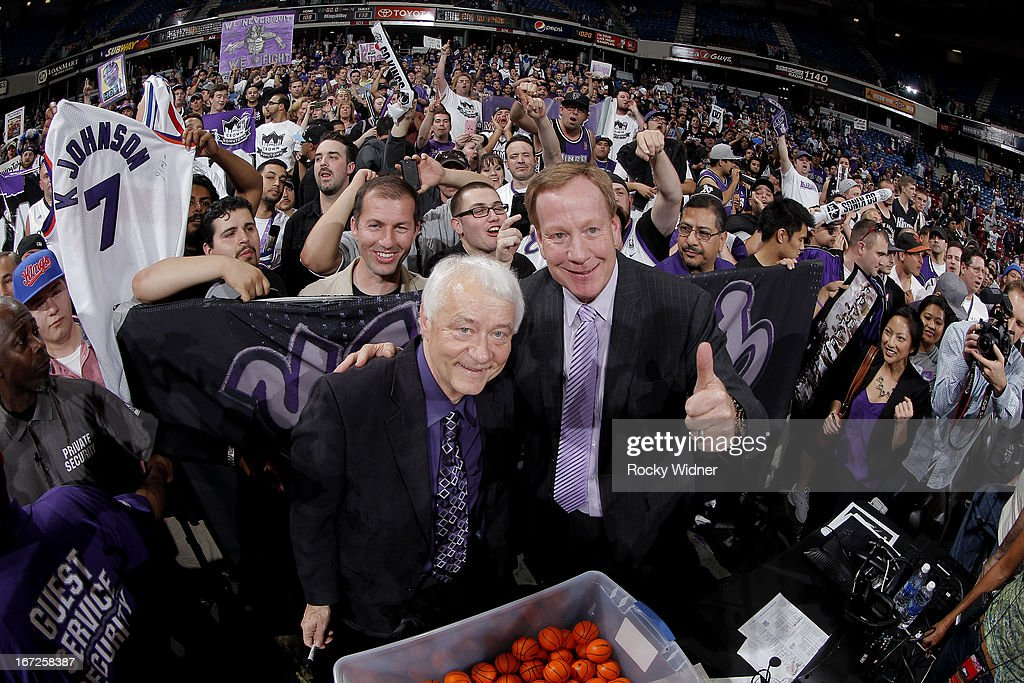 Sacramento Kings announcers Jerry Reynolds and Grant Napear during the game between the Los Angeles Clippers and Sacramento Kings on April 17, 2013 at Sleep Train Arena in Sacramento, California.