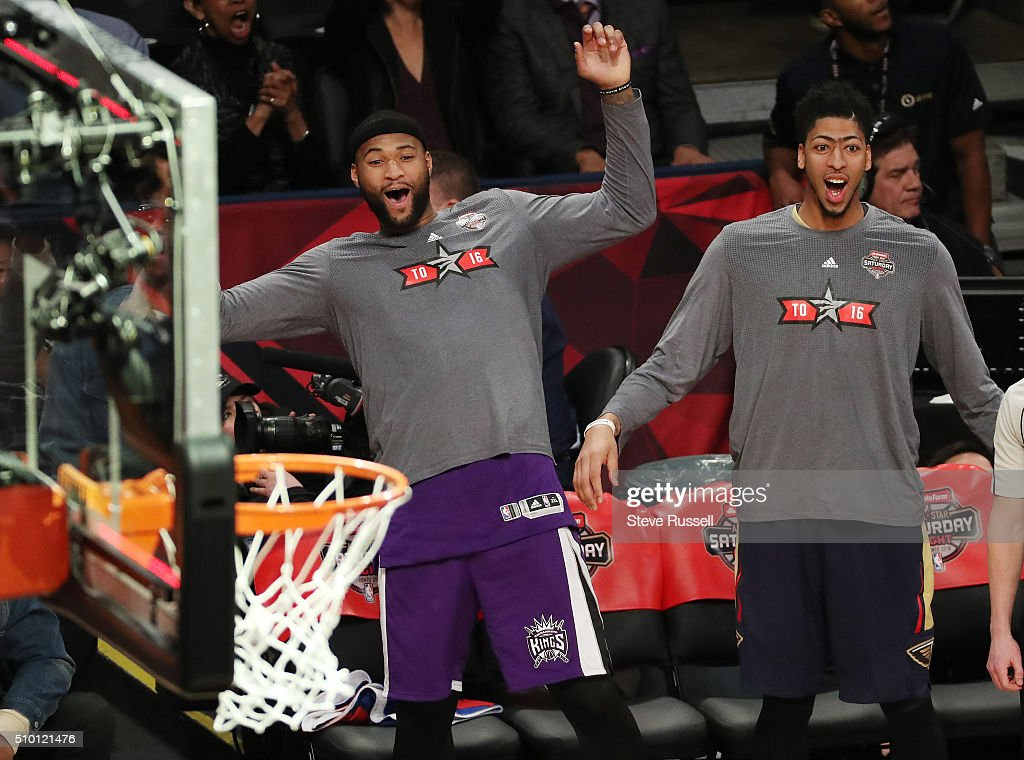 Sacramento Kings center/forward DeMarcus Cousins and during the NBA's All-Star Saturday Night. Where players compete in three events, the Skills Challenge, 3-point shooting and Slam Dunk at the in Toronto. February 13, 2016.