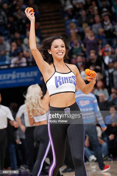 Sacramento Kings dance team hands out mini basketballs during the game against the Dallas Mavericks on November 30 2015 at Sleep Train Arena in...