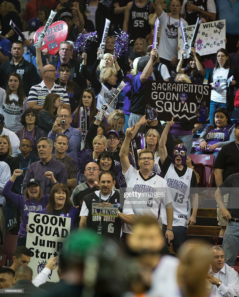 Sacramento Kings fans cheer as the team comes onto the floor for their last regular season game on Wednesday, April 17, 2013, at Sleep Train Arena in Sacramento, Calfornia.