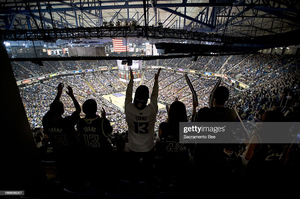 Sacramento Kings fans cheer as the team played the Los Angeles Clippers at Sleep Train Arena on Wednesday, April 17, 2013, in Sacramento, California.