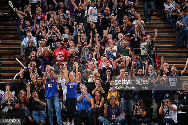 Sacramento Kings fans cheer on their team against the Los Angeles Clippers on October 28 2015 at Sleep Train Arena in Sacramento California NOTE TO...