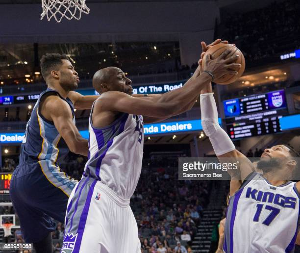Sacramento Kings forward Anthony Tolliver and teammate Sacramento Kings guard Garrett Temple pick up the defensive rebound against the Memphis...