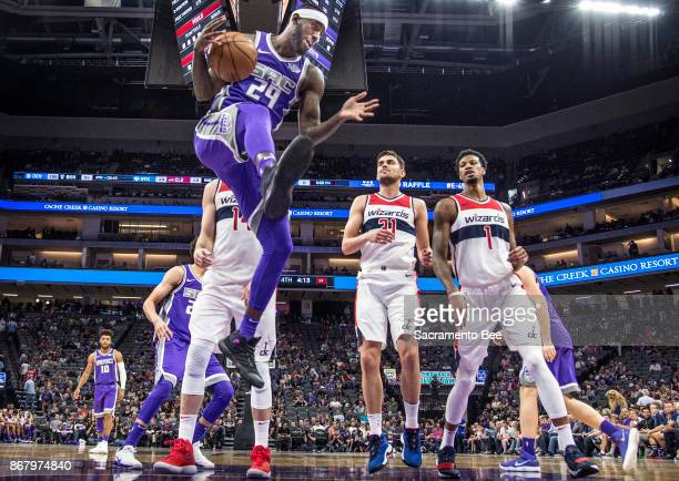 Sacramento Kings forward JaKarr Sampson makes his way under the basket against the Washington Wizards on Sunday Oct 29 2017 at the Golden 1 Center in...