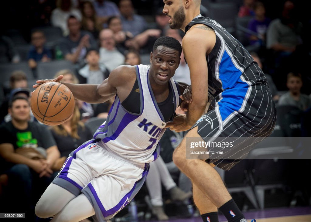 Sacramento Kings guard Darren Collison (7) drives against Orlando Magic guard Evan Fournier (10) on Monday, March 13, 2017 at Golden 1 Center in Sacramento, Calif.