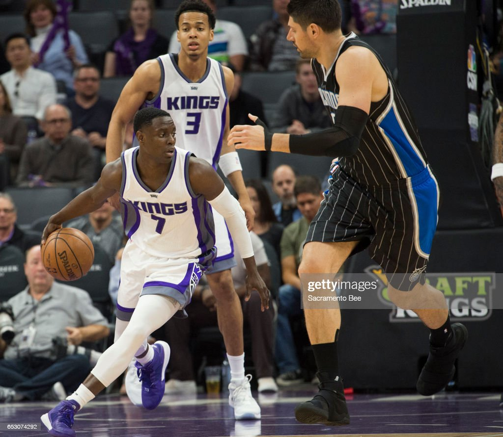 Sacramento Kings guard Darren Collison (7) drives down court against Orlando Magic center Nikola Vucevic (9) on Monday, March 13, 2017 at Golden 1 Center in Sacramento, Calif.