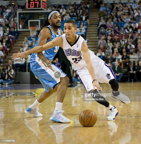 Sacramento Kings guard Kevin Martin blows by Denver Nuggets Renaldo Balkman during the first half at Arco Arena on Sunday March 8 in Sacramento...