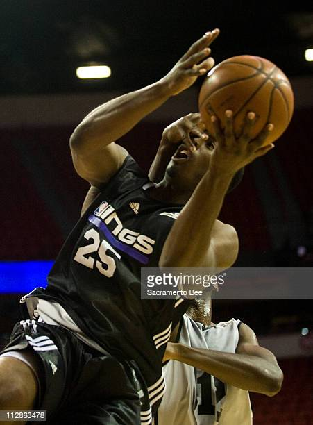 Sacramento Kings guard Wesley Matthews is fouled during an NBA summer league game between the Sacramento Kings and Milwaukee Bucks in Las Vegas...