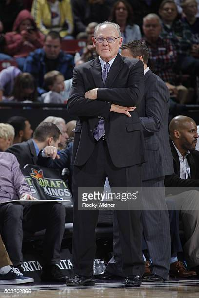 Sacramento Kings head coach George Karl watches from the sideline as the Kings take on the Phoenix Suns at Sleep Train Arena on January 2 2016 in...