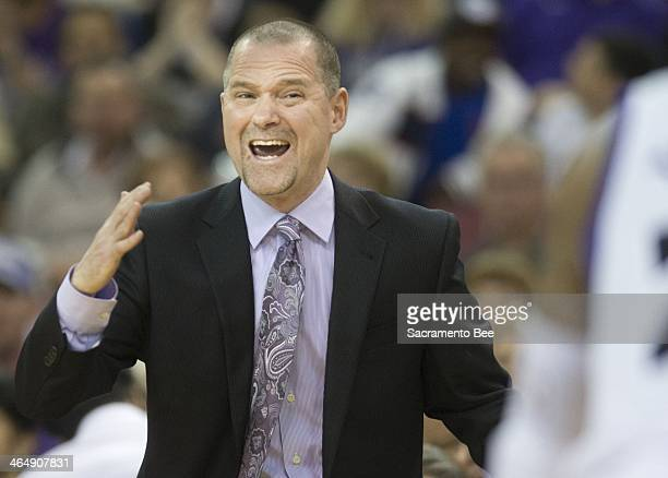 Sacramento Kings head coach Michael Malone calls out a play during action against the Indiana Pacers on Friday Jan 24 at Sleep Train Arena in...
