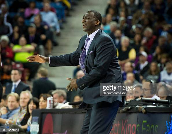 Sacramento Kings head coach Tyrone Corbin complains about an offensive call during action against the Miami Heat at Sleep Train Arena in Sacramento...