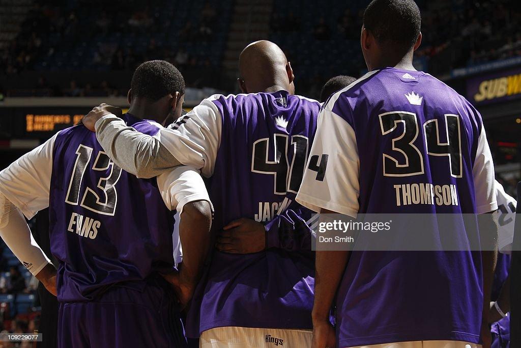 Sacramento Kings point guard Tyreke Evans Sacramento Kings power forward Darnell Jackson and Sacramento Kings center Jason Thompson gather during the...