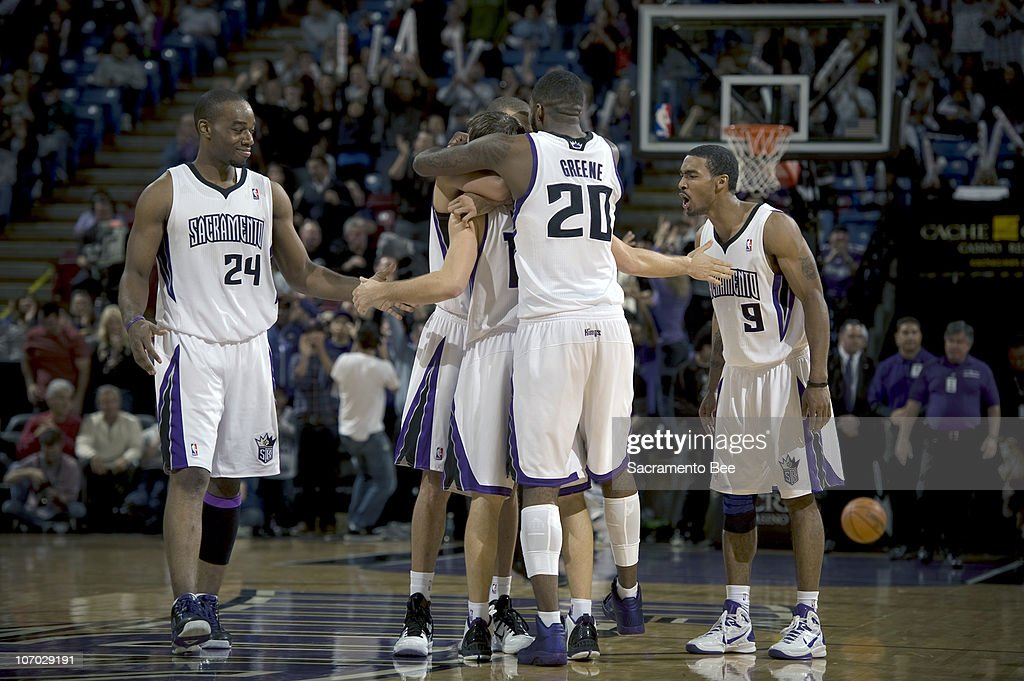 Sacramento Kings teammates embrace Beno Udrih after Udrih hit a 3-point shot with 3.4 points remaining in the fourth quarter against the New Jersey Nets at Arco Arena in Sacramento, California, on Friday, November 19, 2010. Udrih's bucket helped lift the Kings to an 86-81 win.