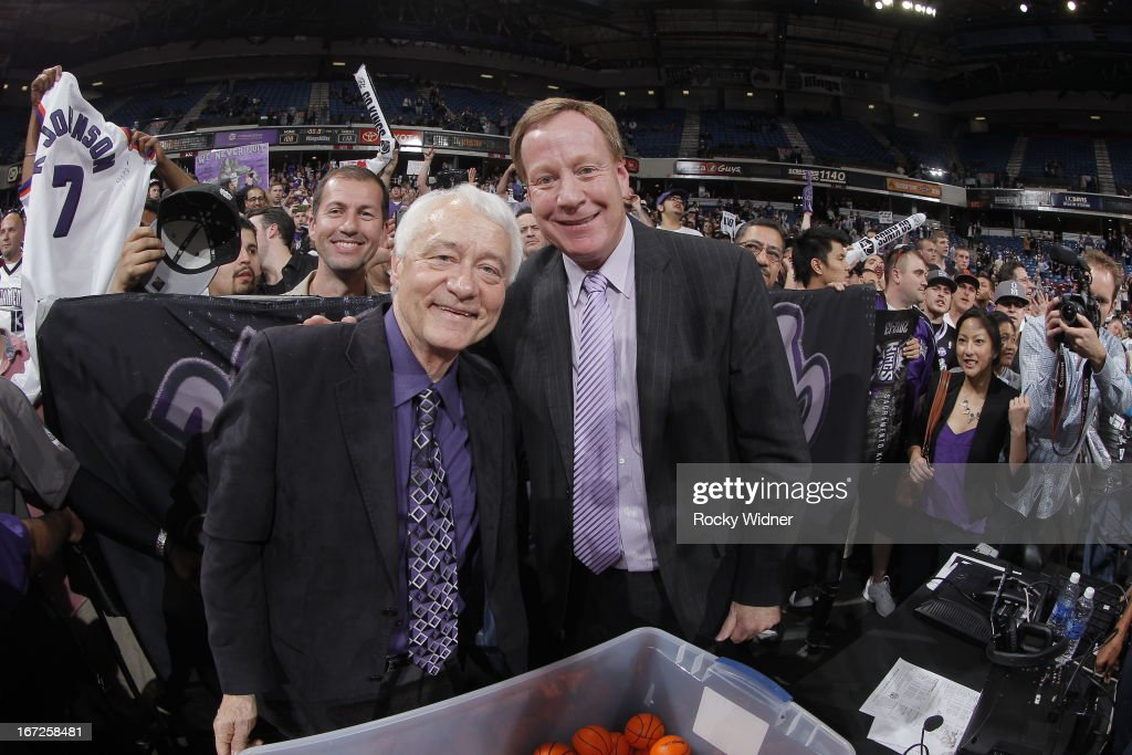 Sacramento Kings TV announcers Jerry Reynolds and Grant Napear during the game between the Los Angeles Clippers and Sacramento Kings on April 17, 2013 at Sleep Train Arena in Sacramento, California.