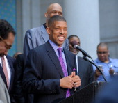 Sacramento Mayor Kevin Johnson addresses the media during the press conference in response to the NBA decision on Donald Sterling ownership at Los...