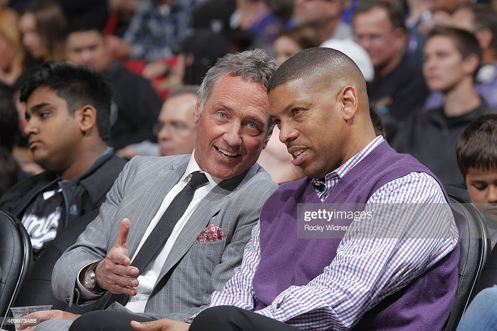 Sacramento mayor <a gi-track='captionPersonalityLinkClicked' href=/galleries/search?phrase=Kevin+Johnson+-+Politician&family=editorial&specificpeople=12777886 ng-click='$event.stopPropagation()'>Kevin Johnson</a> alongside with Mark Friedman during the game against the Los Angeles Lakers on April 13, 2015 at Sleep Train Arena in Sacramento, California.