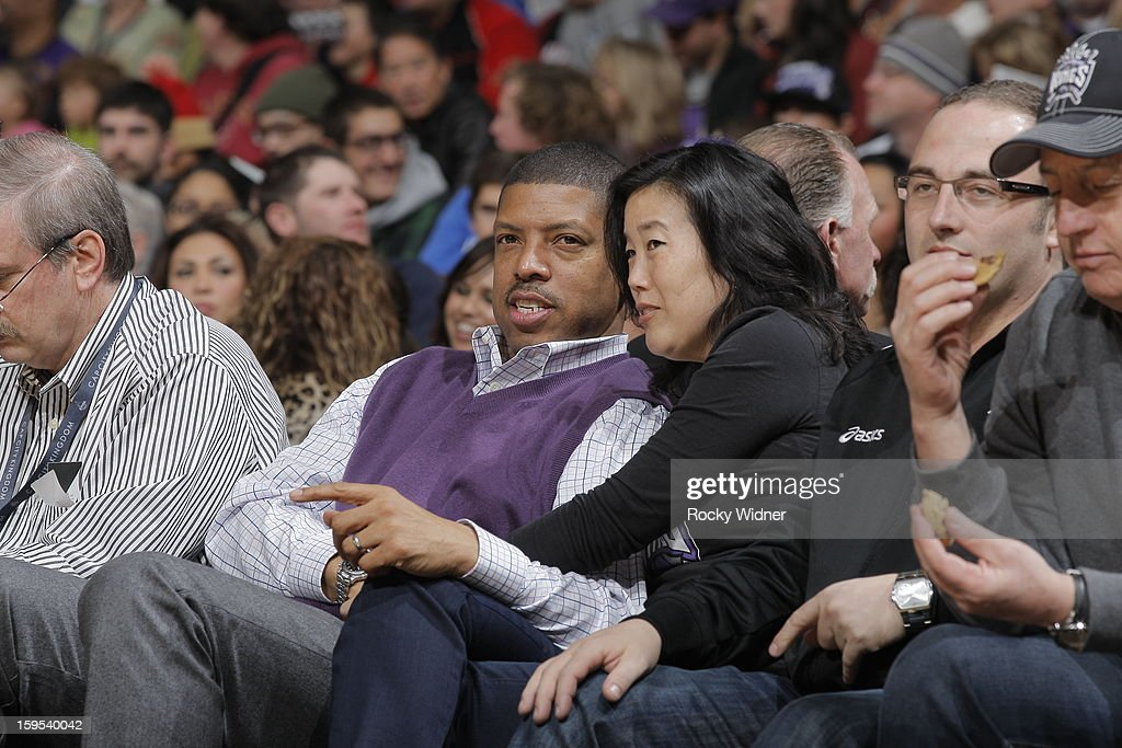 Sacramento mayor Kevin Johnson and <a gi-track='captionPersonalityLinkClicked' href=/galleries/search?phrase=Michelle+Rhee&family=editorial&specificpeople=6520372 ng-click='$event.stopPropagation()'>Michelle Rhee</a> during the game between the Miami Heat and the Sacramento Kings on January 12, 2013 at Sleep Train Arena in Sacramento, California.
