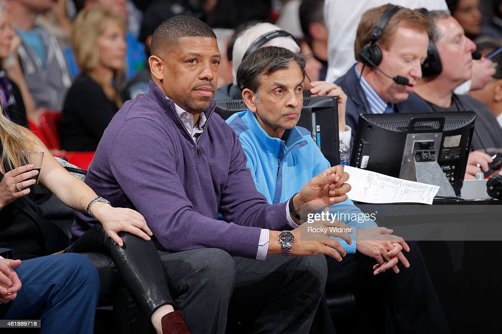 Sacramento mayor Kevin Johnson and owner Vivek Ranadivé of the Sacramento Kings watch the Miami Heat face off against the Sacramento Kings on January...