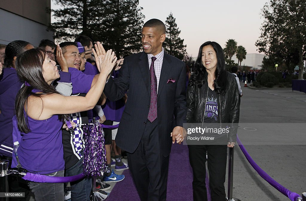 Sacramento Mayor Kevin Johnson and wife <a gi-track='captionPersonalityLinkClicked' href=/galleries/search?phrase=Michelle+Rhee&family=editorial&specificpeople=6520372 ng-click='$event.stopPropagation()'>Michelle Rhee</a> arrive to the arena prior to the game between the Denver Nuggets and Sacramento Kings on October 30, 2013 at Sleep Train Arena in Sacramento, California.