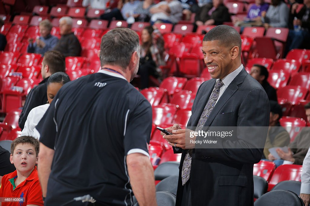 Sacramento mayor <a gi-track='captionPersonalityLinkClicked' href=/galleries/search?phrase=Kevin+Johnson+-+Politician&family=editorial&specificpeople=12777886 ng-click='$event.stopPropagation()'>Kevin Johnson</a> attends the game between the Dallas Mavericks and Sacramento Kings on February 5, 2015 at Sleep Train Arena in Sacramento, California.