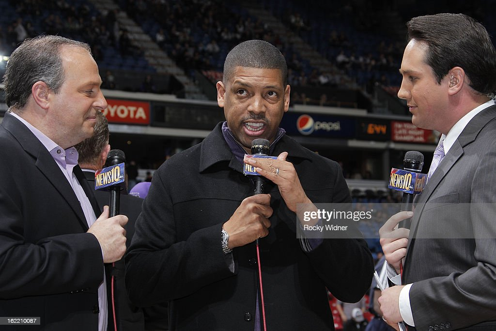 Sacramento Mayor Kevin Johnson being interviewed after the game between the Utah Jazz and Sacramento Kings on February 9, 2013 at Sleep Train Arena in Sacramento, California.