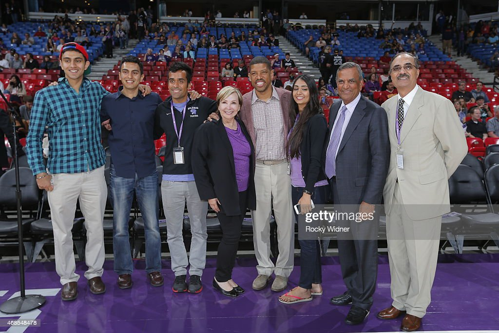 Sacramento Mayor Kevin Johnson meets with fans and owners prior to the Sacramento Kings taking on the New Orleans Pelicans at Sleep Train Arena on...