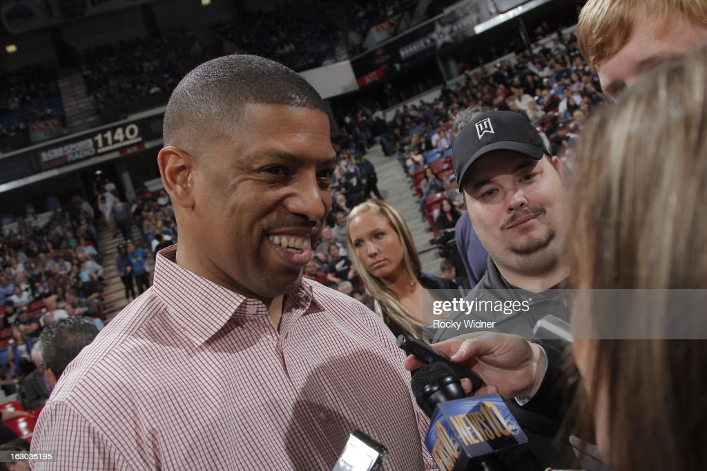 Sacramento Mayor, Kevin Johnson, meets with the local media during halftime in a agme between the Sacramento Kings and the Charlotte Bobcats on March 3, 2013 at Sleep Train Arena in Sacramento, California.