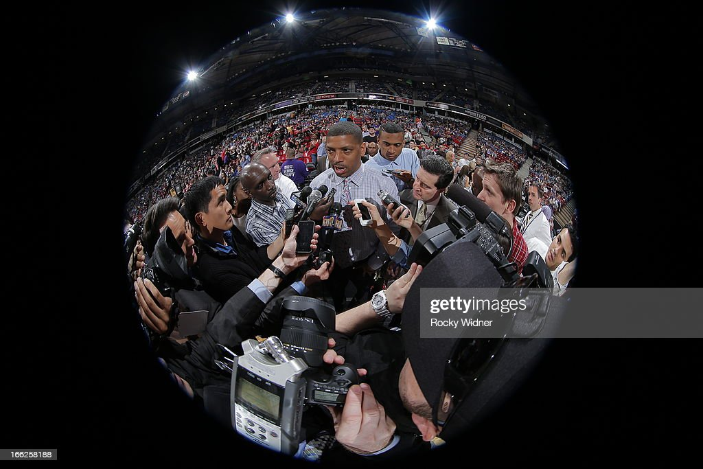 Sacramento mayor Kevin Johnson meets with the local media during halftime of the Sacramento Kings against the New Orleans Hornets on April 10, 2013 at Sleep Train Arena in Sacramento, California.
