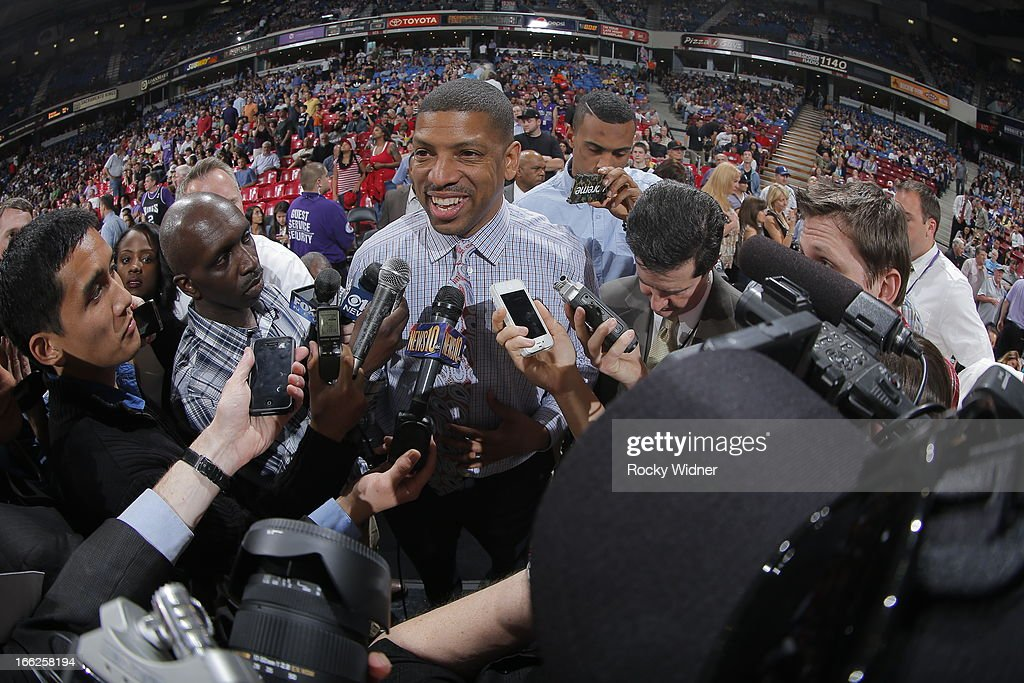 Sacramento mayor Kevin Johnson meets with the local media during halftime of the Sacramento Kings against the New Orleans Hornets game on April 10, 2013 at Sleep Train Arena in Sacramento, California.