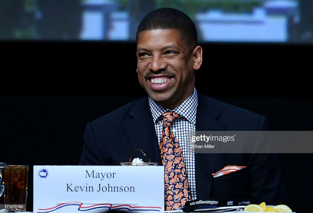 Sacramento Mayor Kevin Johnson smiles at the 81st annual U.S. Conference of Mayors at the Mandalay Bay Convention Center on June 21, 2013 in Las Vegas, Nevada. U.S. Vice President Joe Biden spoke at the conference addressing about 150 mayors from across the country on issues including the economy, immigration reform and gun violence.