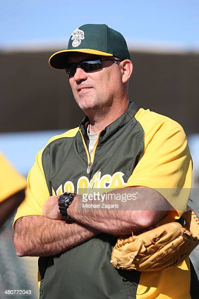 Sacramento River Cats Manager Steve Scarsone stands on the field at Phoenix Municipal Stadium prior to the Oakland Athletics leaving for a spring...