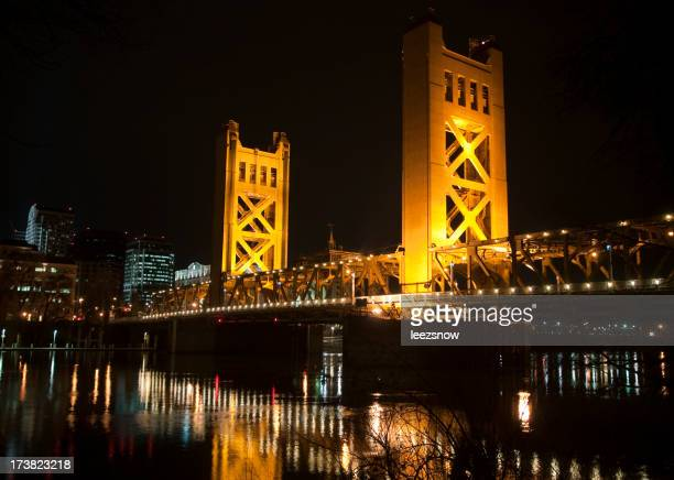 Sacramento Tower Bridge Lit Up at Night