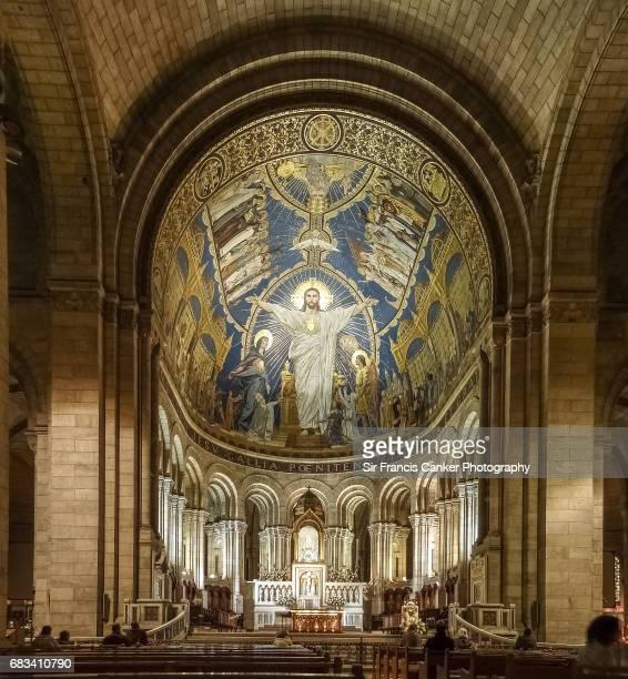 Sacre Coeur Basilica interior details in in Montmartre, Paris