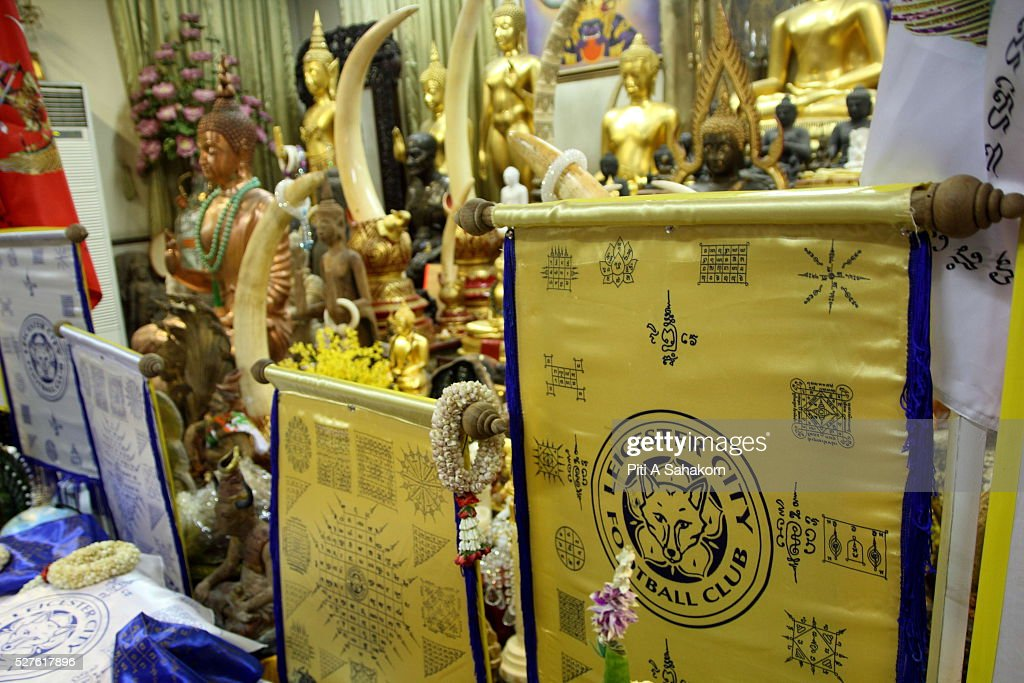 Sacred holy unbeatable Leicester City fabric and talismanat Wat Traimit temple in Bangkok. The Thai Buddhist monk became famous and well known as a magic monk as he is credited to be a part of Leicester City's success after he traveled several times to King Power Stadium in England.