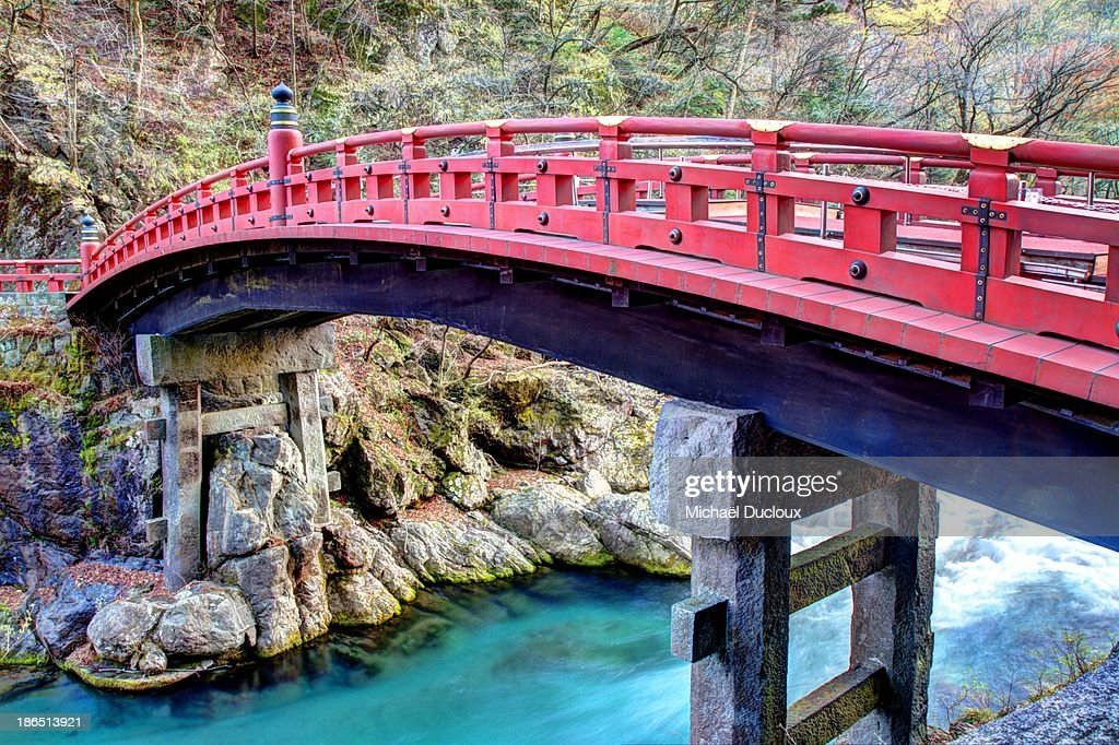 Sacred Shinkyo Red Bridge in Nikko, Japan