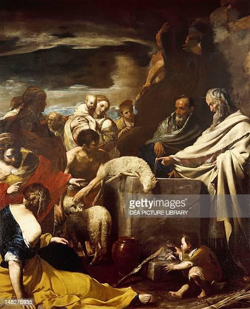 Sacrifice of Moses by Massimo Stanzione oil on canvas 288x225 cm Naples Museo Nazionale Di Capodimonte