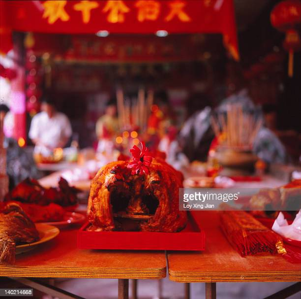 Sacrificial offerings at Chinese temple