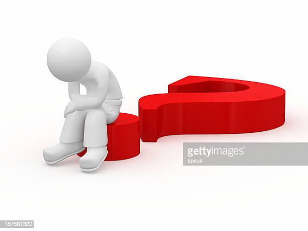 Sad 3d guy sitting on big red question mark.