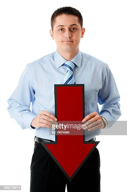 Sad business man with arrow, isolated on white