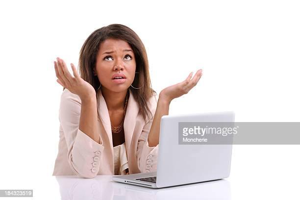 Sad Businesswoman working with laptop