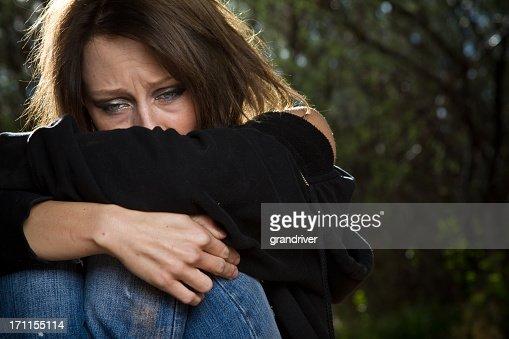 Sad Desperate Young Caucasian Woman Under Great Stress