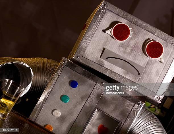 sad drinking robot