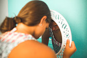 Sad girl in the mirror