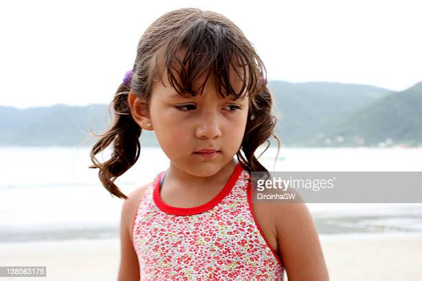 Sad girl on beach